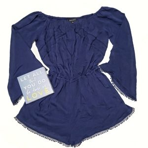 Romeo & Juliet Couture Navy 3/4 Sleeve Romper. D18